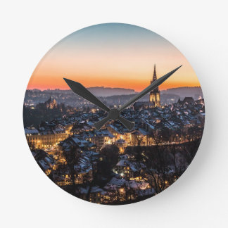 Bern Switzerland Night Skyline Round Clock