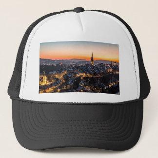 Bern Switzerland Night Skyline Trucker Hat