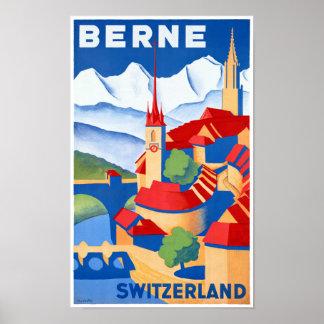 Bern Switzerland Vintage Travel Poster Restored