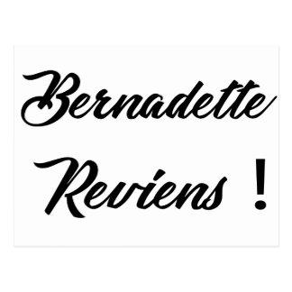 Bernadette return postcard