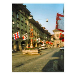 Berne, Main street and clock tower, Postcard