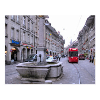 Berne old city - Fountain and tram Postcard
