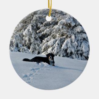 Berner in the Snow Ceramic Ornament
