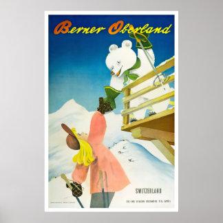 Berner Oberland,Switzerland,Ski Poster