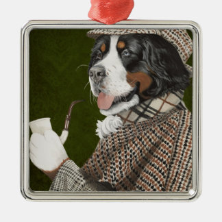 Berner Of The Baskerville Silver-Colored Square Ornament