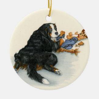 Berner with stocking round ceramic ornament