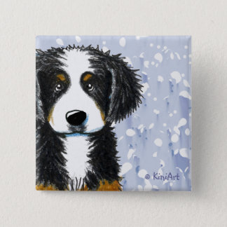 Bernese Mountain Dog 2 Inch Square Button
