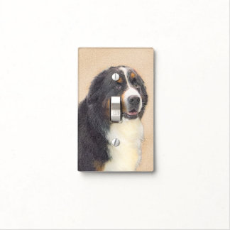 Bernese Mountain Dog 2 Painting - Original Dog Art Light Switch Cover