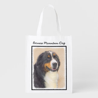 Bernese Mountain Dog 2 Painting - Original Dog Art Reusable Grocery Bag