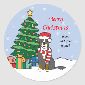 Bernese Mountain Dog and Christmas Tree Round Sticker