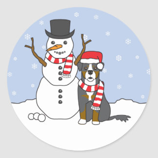 Bernese Mountain Dog and Snowman Classic Round Sticker