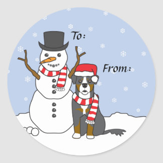 Bernese Mountain Dog and Snowman Round Sticker