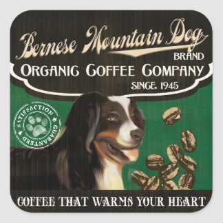 Bernese Mountain Dog Brand – Organic Coffee Compan Square Sticker