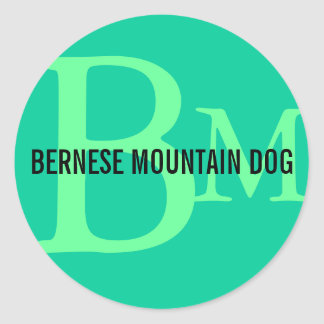 Bernese Mountain Dog Breed Monogram Round Sticker