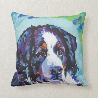 Bernese Mountain Dog Bright Colorful Pop Dog Art Throw Pillow