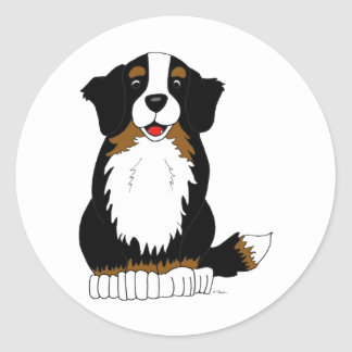 Bernese Mountain Dog Cartoon Round Sticker