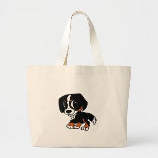 bernese mountain dog cartoon rust large tote bag