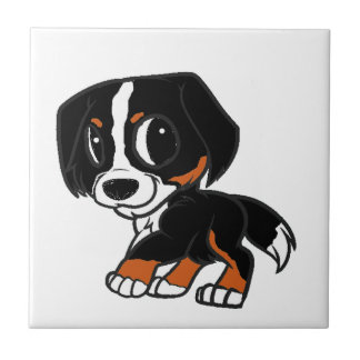 bernese mountain dog cartoon rust tile