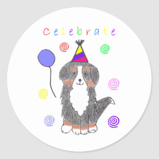 Bernese Mountain Dog Celebrate Classic Round Sticker