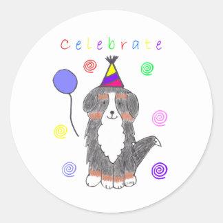 Bernese Mountain Dog Celebrate Round Sticker