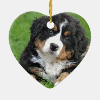 Bernese Mountain Dog Ceramic Heart Ornament