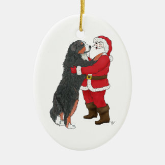 Bernese Mountain Dog Christmas Greeting Ceramic Ornament