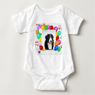 Bernese Mountain Dog Colorful Balloons Birthday Baby Bodysuit