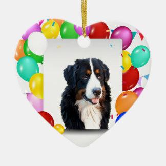 Bernese Mountain Dog Colorful Balloons Birthday Ceramic Heart Ornament