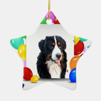 Bernese Mountain Dog Colorful Balloons Birthday Ceramic Star Ornament