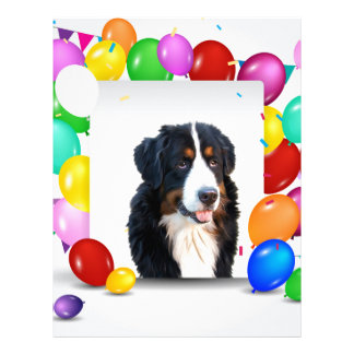 Bernese Mountain Dog Colorful Balloons Birthday Letterhead