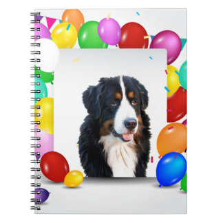 Bernese Mountain Dog Colorful Balloons Birthday Notebooks