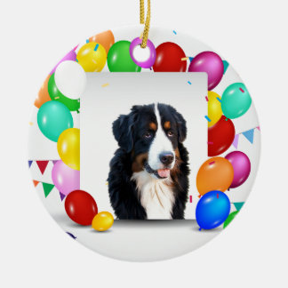 Bernese Mountain Dog Colorful Balloons Birthday Round Ceramic Ornament