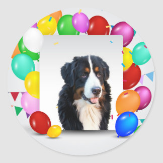 Bernese Mountain Dog Colorful Balloons Birthday Round Sticker