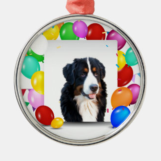Bernese Mountain Dog Colorful Balloons Birthday Silver-Colored Round Ornament