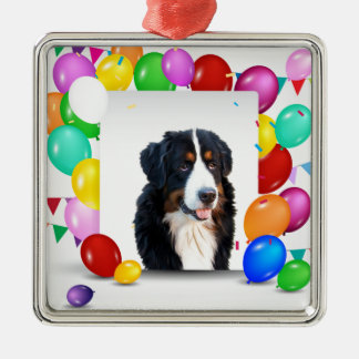 Bernese Mountain Dog Colorful Balloons Birthday Silver-Colored Square Ornament