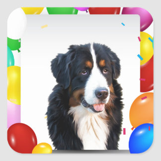 Bernese Mountain Dog Colorful Balloons Birthday Square Sticker