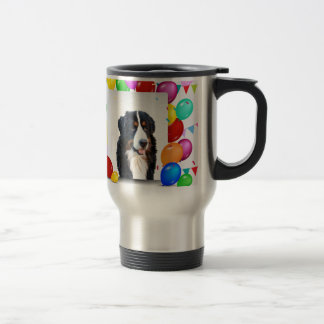 Bernese Mountain Dog Colorful Balloons Birthday Travel Mug