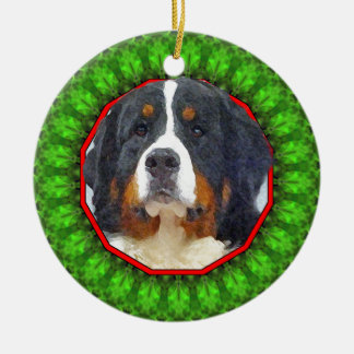 Bernese Mountain Dog Happy Howliday Round Ceramic Ornament