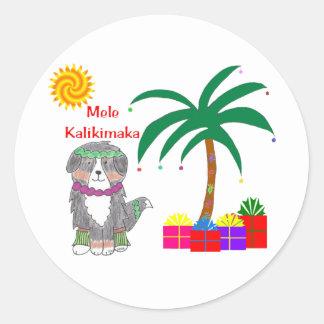 Bernese Mountain Dog Hawaiian Christmas Round Sticker