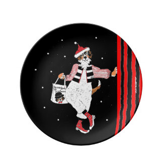 Bernese Mountain Dog Holiday Santa Plate
