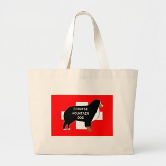 bernese mountain dog name silhouette on flag rust. large tote bag