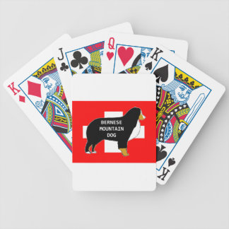 bernese mountain dog name silhouette on flag tan.p bicycle playing cards