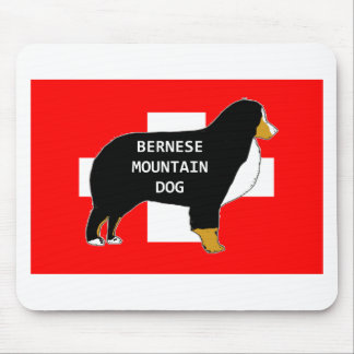 bernese mountain dog name silhouette on flag tan.p mouse pad