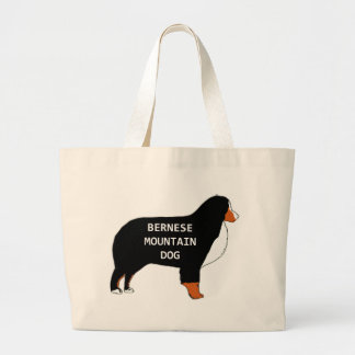 Bernese Mountain Dog name silhouette rust Large Tote Bag