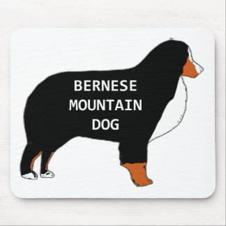 Bernese Mountain Dog name silhouette rust Mouse Pad
