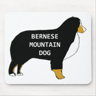 Bernese Mountain Dog name silhouette tan Mouse Pad