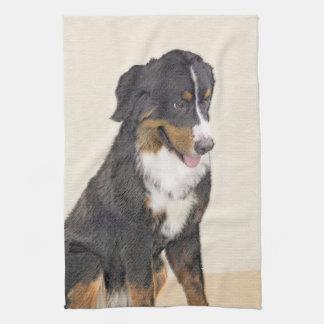 Bernese Mountain Dog Painting - Original Dog Art Kitchen Towel