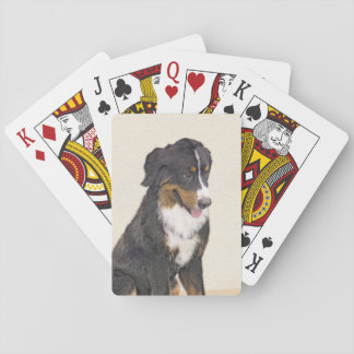 Bernese Mountain Dog Painting - Original Dog Art Playing Cards