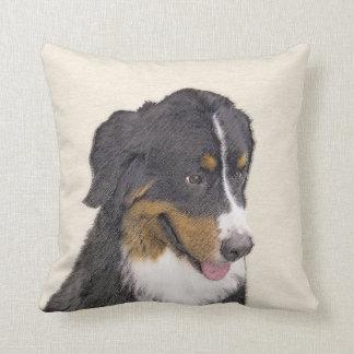 Bernese Mountain Dog Painting - Original Dog Art Throw Pillow