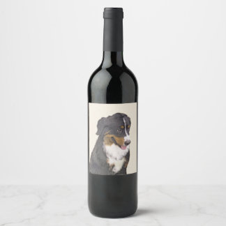 Bernese Mountain Dog Painting - Original Dog Art Wine Label